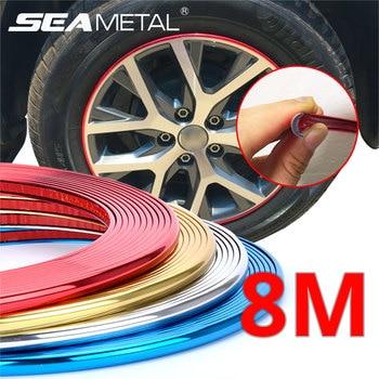 Car Wheel Protector Rim Sticker Moulding Strip Trim Chrome Decoration Tire Rims Hub Strips Exterior Car Styling Auto Accessories
