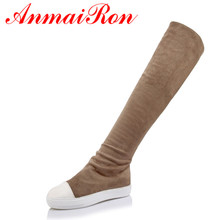 ANMAIRON New Flock Flats Knee High Boots Women Warm Fur Platform Boots Confortable Flats Shoes Woman Slip-on Round Toe Boots anmairon new winter boots concise style women shoes over the knee high boots platform round toe thick heels shoes platform boots