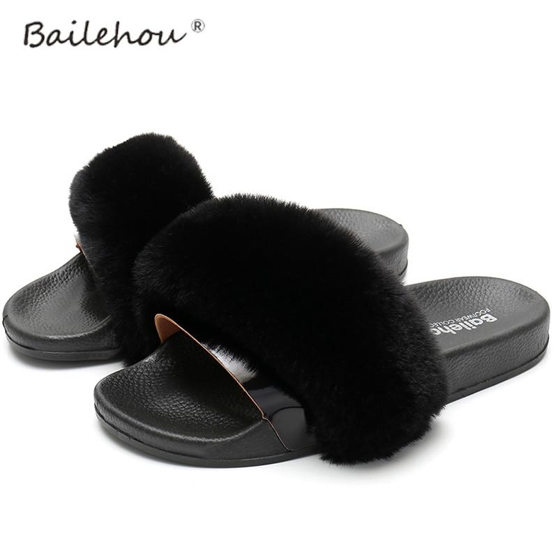 Fur Slippers Home Female Shoes Women Woman Shoes Spring Summer Fashion Women Flip Flops Slides Sandal Flat Slippers Ladies Shoes