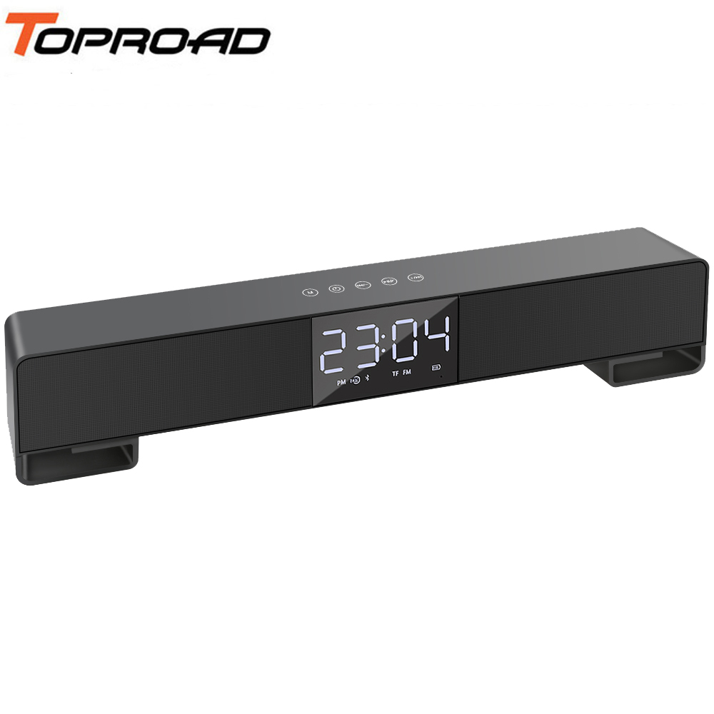 TOPROAD Stereo Bluetooth Speaker Wireless Soundbar Speakers Touch Button Support Hands free Call Clock FM Radio USB Line in TF-in Portable Speakers from Consumer Electronics    1