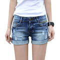 Summer hole denim shorts women Fashion mid elastic waist hemming short jeans Pocket decorate jeans shorts Plus size 25-32 M272