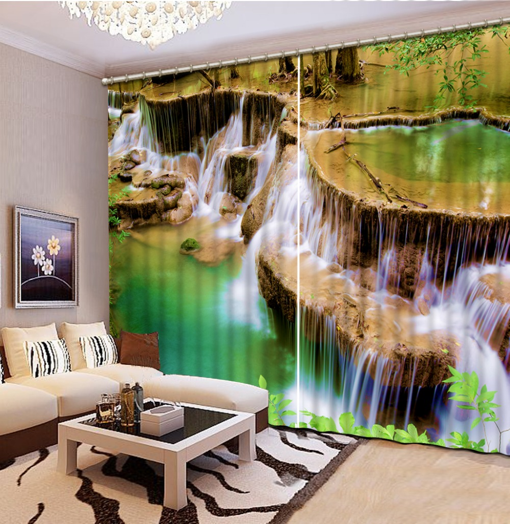 Modern Print hd waterfalls 3d Curtains Photo Blackout Window Curtains for Living Room BedroomModern Print hd waterfalls 3d Curtains Photo Blackout Window Curtains for Living Room Bedroom