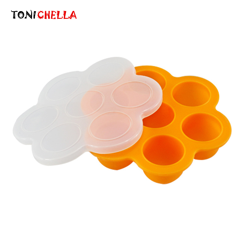 Portability Baby Food Container Infant Flower Lattice Fruit Breast Milk Storage Box Safety Silicone Freezer Tray Crisper T0359