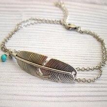 Boho bohemio hoja de árbol tobillo pluma vintage antic piedra azul plata oro En forma de hoja pie tobillera joyería para las mujeres boda