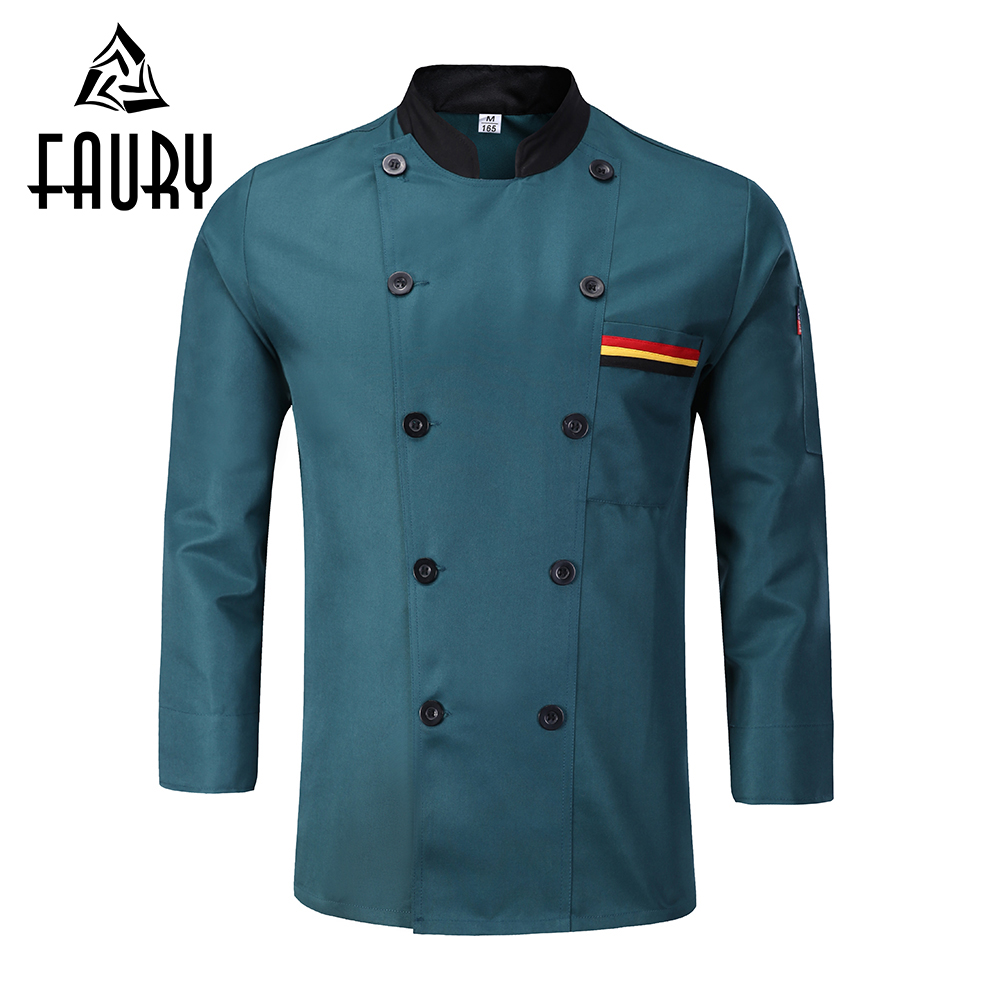 Unisex Long Sleeve Double Breasted Chef Coats Restaurant Food Service Bakery Waiter Work Wear Kitchen Cooking Uniforms Aprons