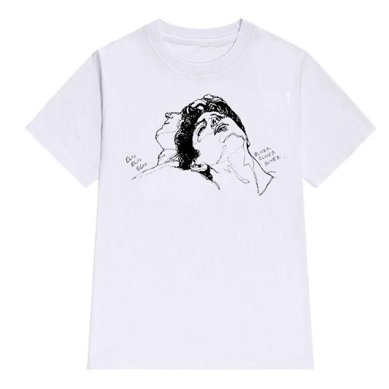 Summer Short Sleeve Tops Call Me By Your Name Movie Cartoon Print T-shirt Men Cotton Tshirts Men T Shirt O-Neck White T Shirt