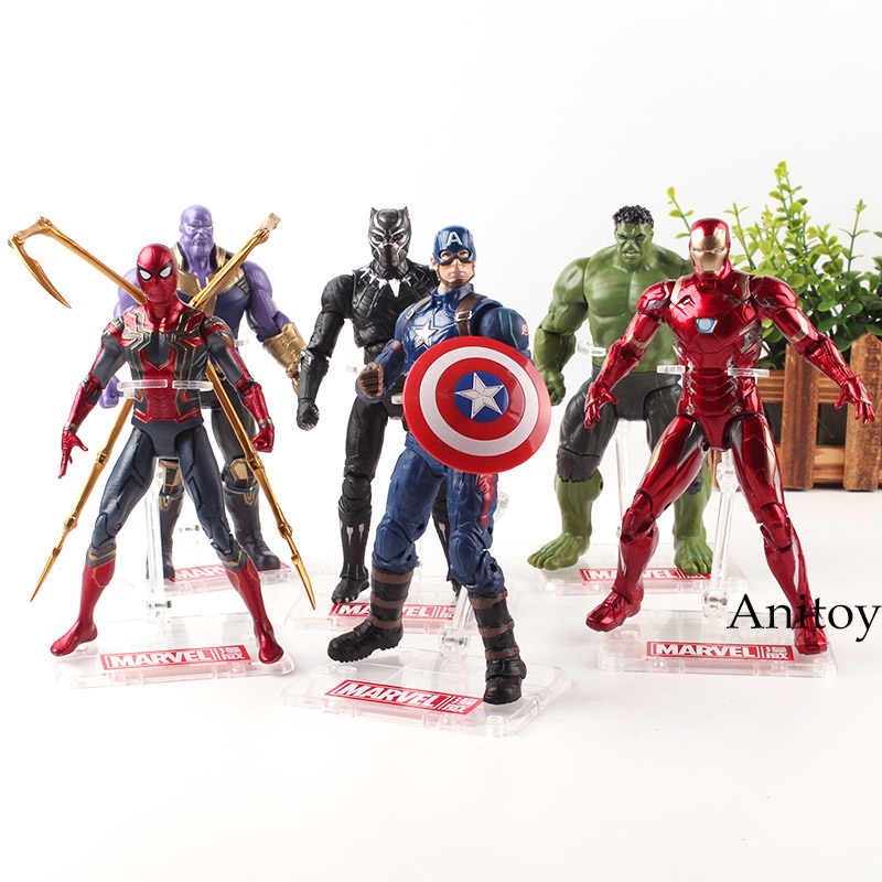 Marvel Avengers 3 Infinity War Spiderman supereroe Pantera Iron Man Capitan America Thanos Action Figure Collection Giocattoli di Modello