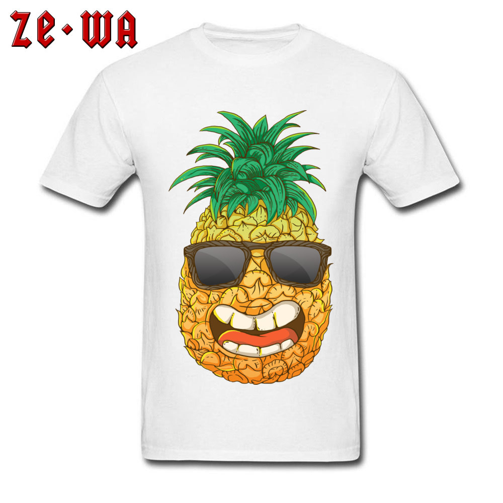 Cool Pineapple Round Neck Top T-shirts Labor Day Tops Shirts Short Sleeve Special Cotton Cool Tops & Tees Custom Student Cool Pineapple white