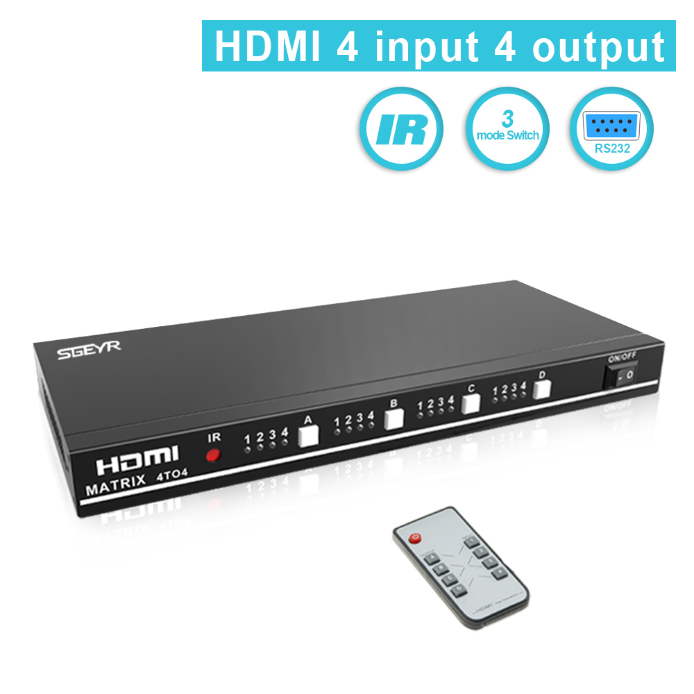 SGEYR HDMI 1.3b HDMI Matrix 4x4,HDMI Video Switch Splitter 4 Input 4 Output with IR Remote Control and RS232 Support 1080P,HD,3D цена