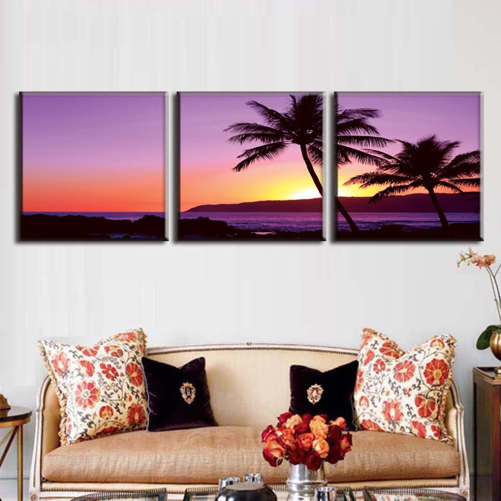 3 unids/set enmarcado pared moderno paisaje marino pintura palmera y ...