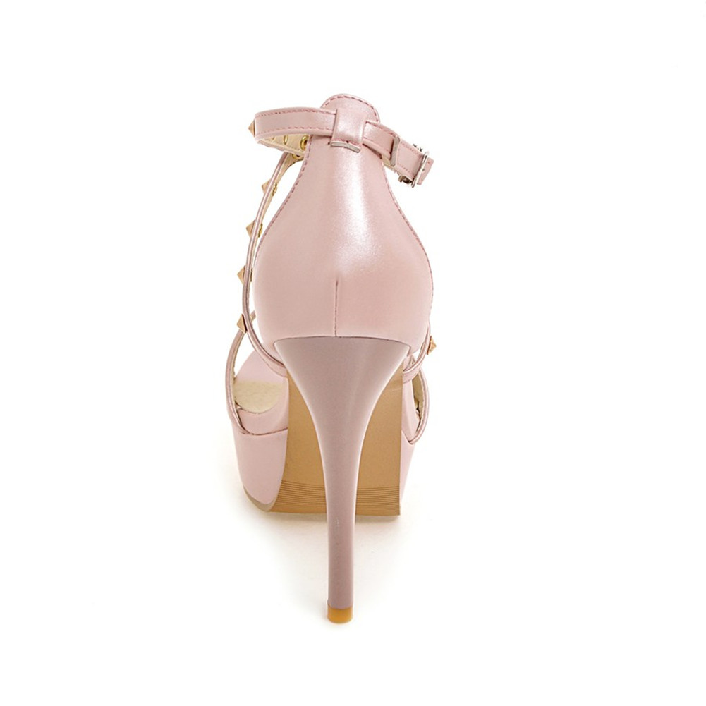 Plate Boucle forme Sangle Taille Mince Sarairis Pompes Mode 43 blanc Grande Noir Sandales Rivet D'été rose Chaussures Talons Femme 2019 Haute 34 vqxxEz