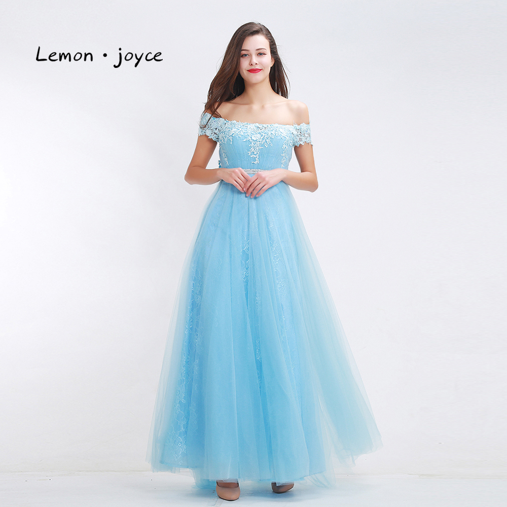 Fantasy blue bridesmaid dresses 2017 boat neck off shoulder fantasy blue bridesmaid dresses 2017 boat neck off shoulder appliques tulle a line event dresses prom gowns robe vintage in bridesmaid dresses from weddings ombrellifo Choice Image