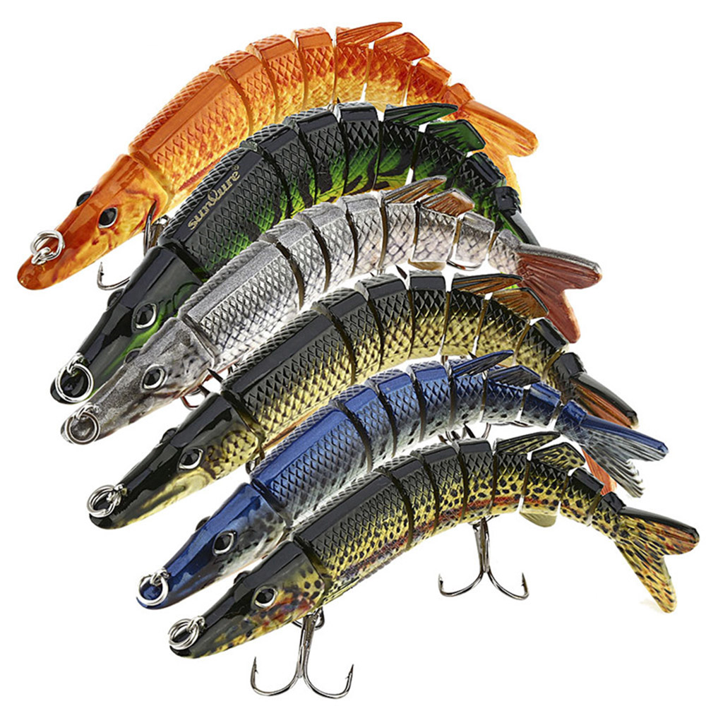 New 12.8cm Artificial Fishing Lure Bait 3D Eyes 9 Segments Fish Lures 2 Hooks Sea Fishing Swimbait Tackle im
