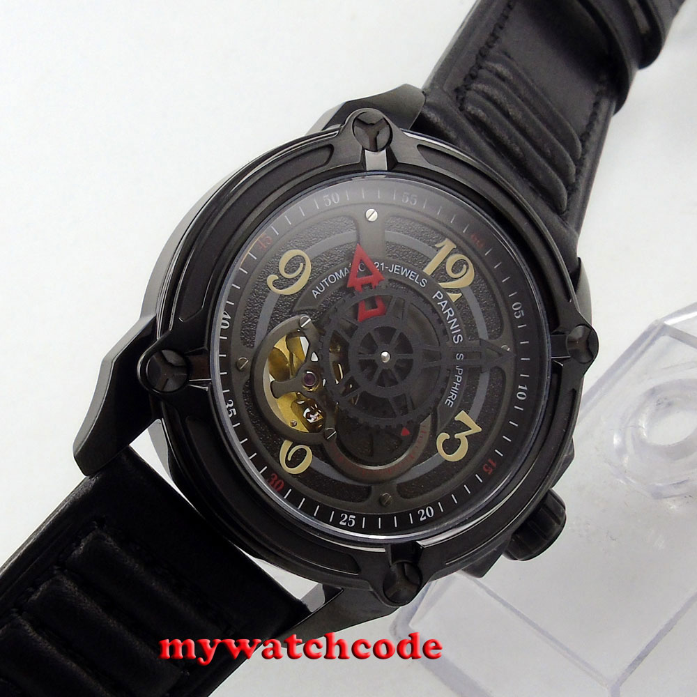 44mm Parnis black dial PVD case miyota Sapphire Glass Automatic mens Watch P669 цена и фото