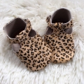 leopard print T-bar newborn shoes