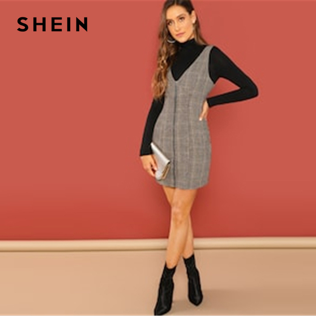 Casual Coffee Deep V Neck Zipper Up Fitted Shell Sleeveless Sheath Plaid Dress Elegant