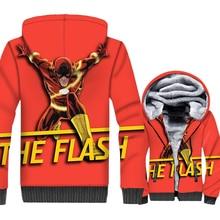 Fashion Mens Jacket Zipper Hoodies 2018 Winter Thick Sweatshirt Harajuku Jackets The Flash Tracksuit Red Cosplay Top