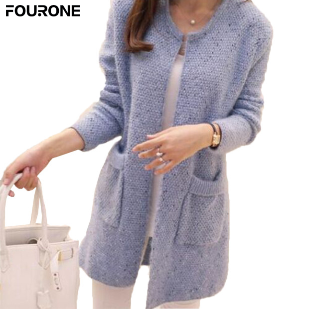 Female 2017 Spring Autumn Mid Length Sweater Long Sleeve Cardigan Women Sweater Pocket <font><b>Knitted</b></font> Jacket Tops