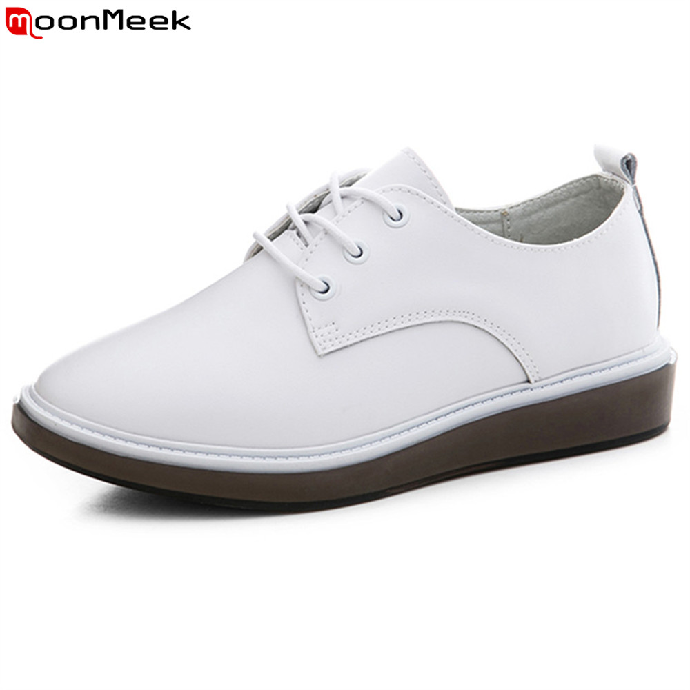 MoonMeek black white fashion new women shoes round toe ladies genuine leather flats shoes lace up casual single shoes цены