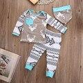Roupas de bebê menino set 2016 3 pcs Bebê Meninos Meninas Veados Top + Calça + Chapéu Set Bebê Recém-nascido Romper do bebê menino roupas de Algodão de Alta Qualit