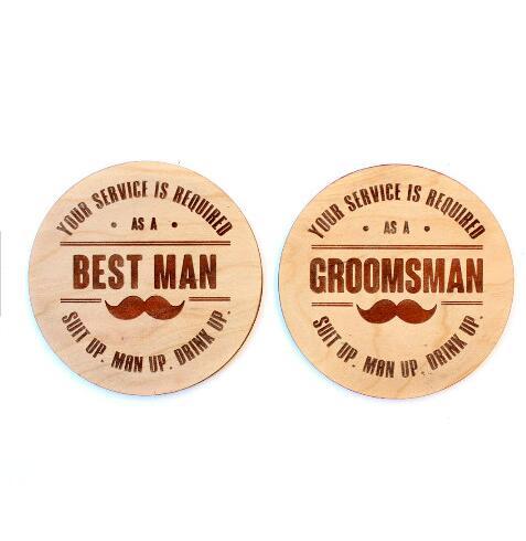 personalized engraved best man groomsman wedding wood coaster mats