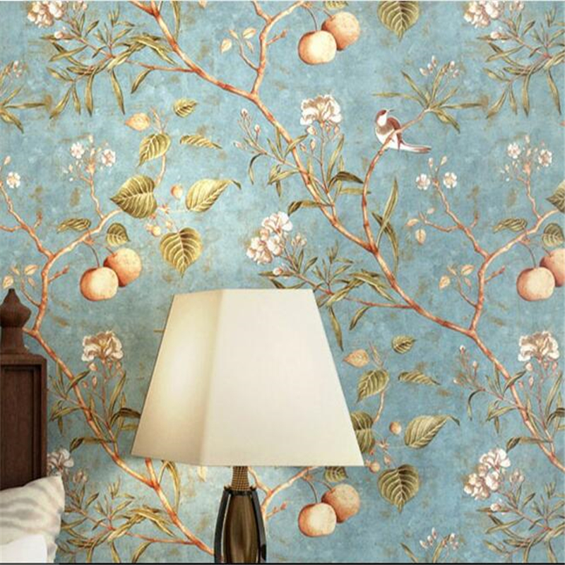 beibehang American Wallpaper Retro Apple Tree Flower Wallpaper Bedroom Living Room Background Pure Paper Pastoral Wallpaper