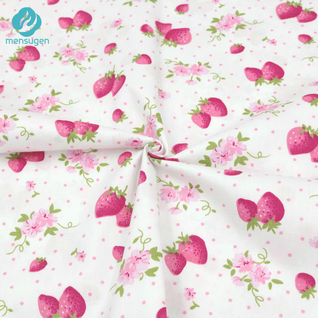 Mensugen 50cm 160cm Pink Strawberry Cotton Fabric For Patchwork Baby Dresses S Bed Sheets Quilt Blanket Sewing Material