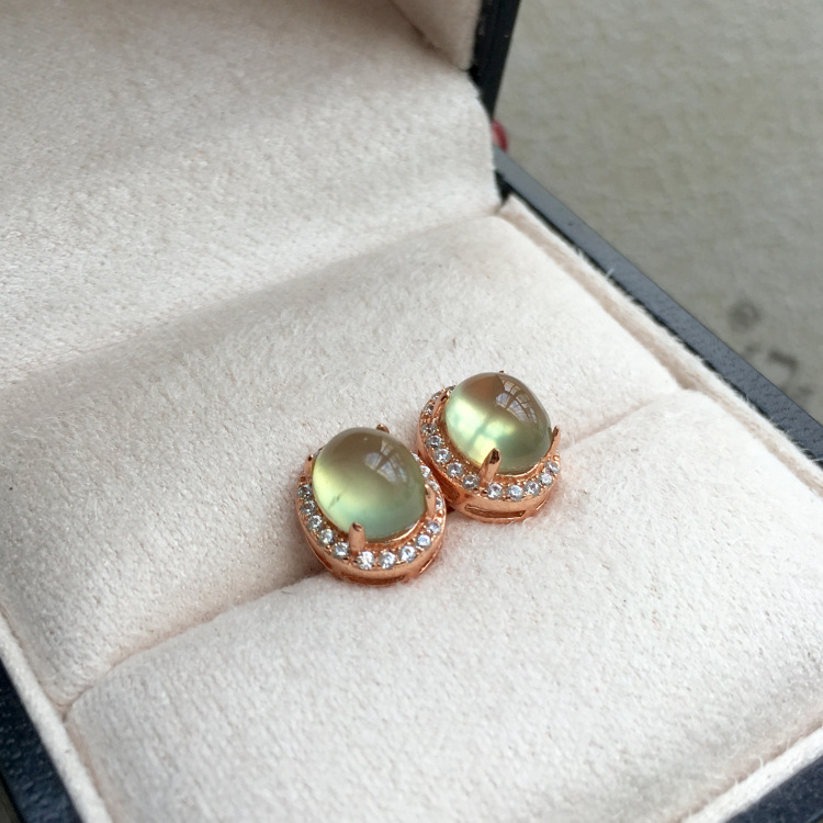 купить [MeiBaPJ]Natural Prehnite Gemstone Stud Earrings Real 925 Silver Stud Earrings Fine Charm Jewelry for Women по цене 1182.48 рублей