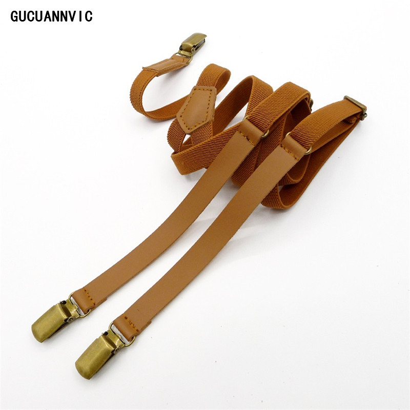 New Personalit Suspenders Leather And Elastic Links Vintage Clip Braces Men 2 Color Options For Black And Brown Suspenders Women