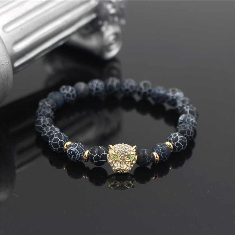 PINIYA Drop Shipping Cheap Micro Pave CZ Leopard Head Charm Bracelet Natural Lava Stone Bead Jewelry for Men Women Gift