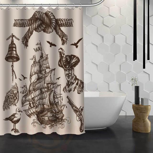 New Pirate Ship Custom Shower Curtain Waterproof Fabric Bath For Bathroom WJY117