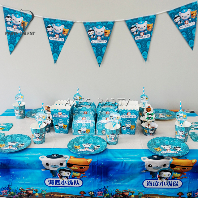 98pcs For 12kids Octonauts Theme Birthday Party Supplie Tableware