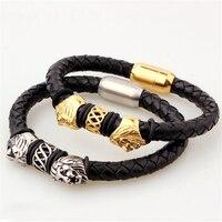 Rvs Gold Colour Leeuwenkop Lederen Armband Mannen Gevlochten Zwart Lederen Armbanden Armbanden pulseira Mannen Sieraden
