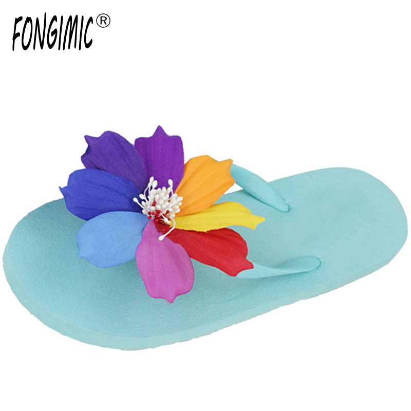 New summer hot sweet colorful cosmos slippers candy color cute cool beach women sandals handmade Artificial flowers Flip flops