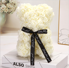 25cm Rose Teddy Bear Flower Artificial Decoration Christmas Gifts Women Valentines Gift Wedding