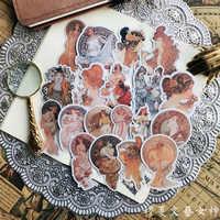 Vintage Mucha Gilding Stickers Scrapbooking Stickers Decorative Journal Happy Planner Sticker DIY Craft Photo Albums Card Make