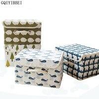 Gqiyibbei مطوية الكرتون نمط الكتان داخلية تخزين مربع أدوات التجميل المنظم حامل التخزين الأسرة للملابس لعبة