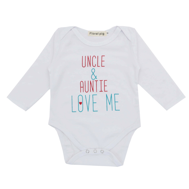 Baby Girl Boy Clothes 2018 Newborn Bodysuit Jumpsuit Tiny Cottons Autumn Uncle Auntie Love Me White Long Sleeve Baby Bodysuits funny newborn infant clothes me mommy broke daddy letter print white short sleeves tiny cottons baby bodysuits baby onesie new