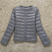Spring Gray Ultra Light Down Coat White Duck Down Jacket Fashion Short Solid Button Casual Ladies