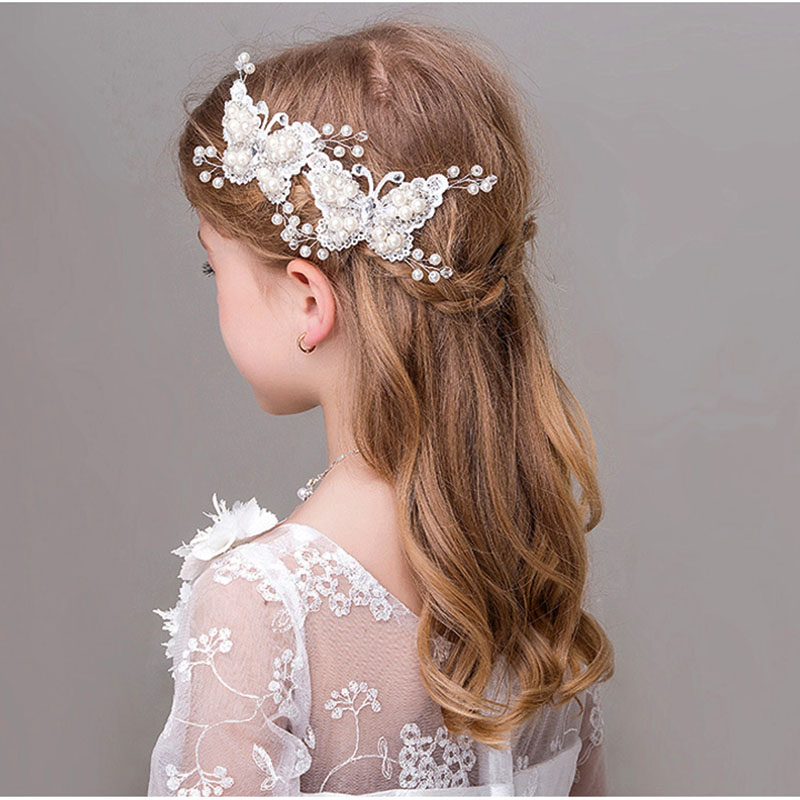 metting joura girls kids wedding party white lace pearl butterfly animal hair pin dressy hair accessories hair jewelry in hair accessories from mother