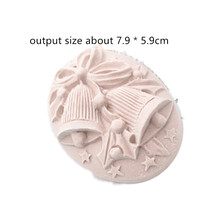 Christmas bell pattern round aromatherapy gypsum tablet mold handmade bath soap silicone