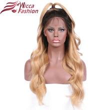 """wicca divat 14 """"-24"""" Ombre szín 1b / 27 brazil teljes csipke Emberi haj paróka előhabosított természetes hajvonal teljes csipke paróka"""