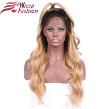 Dream Beauty 14″-24″ Ombre Color 1b/27 Remy Brazilian Full Lace Human Hair Wigs Pre Plucked Natural Hairline wigs