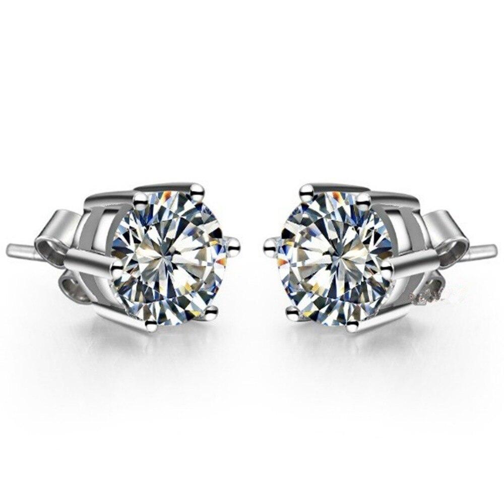 SONA Stud-Earrings Diamond Wedding-Jewelry Gold White Genuine Women 18k Engagement