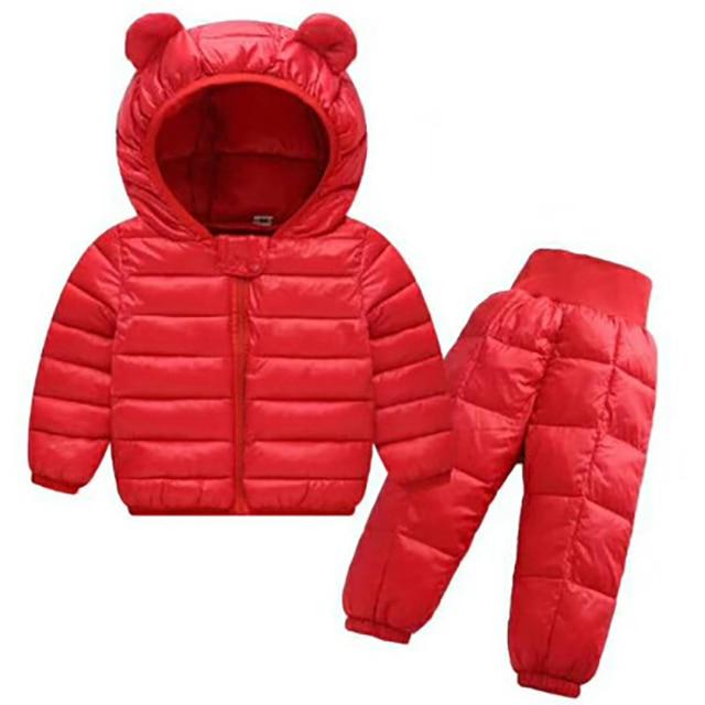 Children 1-5Y Winter Down Set Boys Girl Jacket Trousers 2pcs Sets Waterproof Kids Snow Warm Clothing Children Cute Bear Suits