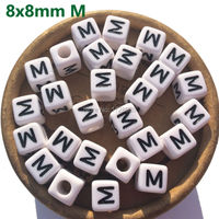 1100pcs 8mm Plastic Letter Beads Acrylic Letter Beads Alphabet A B C D E H I J TO Z Cube Beads Letter Square Beads 3mm Big Hole