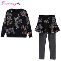 Children S Clothing Girls Winter Suit Children S Fashion Printing Fleece Pants Suit K5