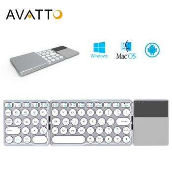AVATTO nouveau B033 Portable Bluetooth pliant Mini clavier, pliable BT sans fil pavé tactile clavier pour IOS/Android/fenêtre ipad tablette