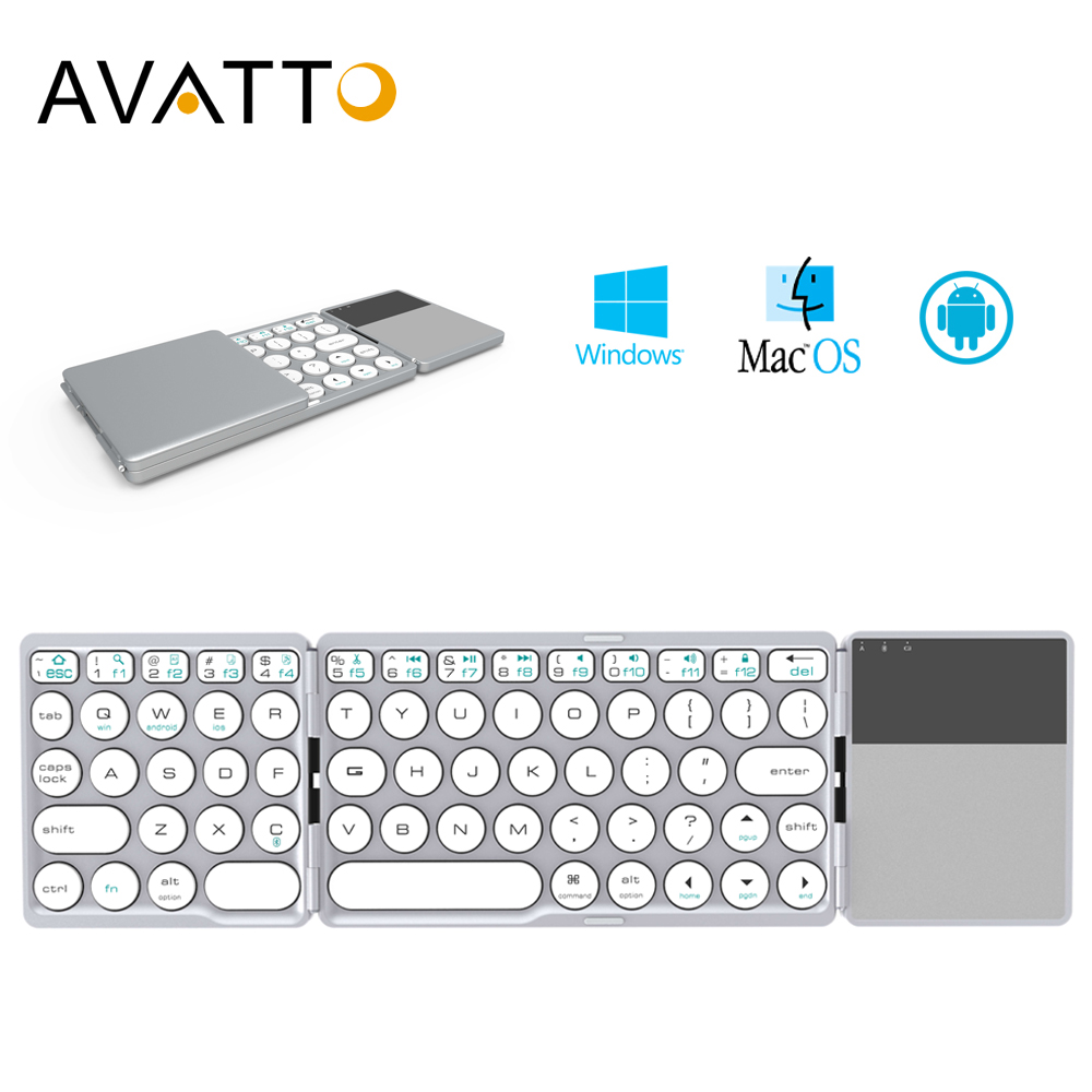 AVATTO NEW B033 Portable Bluetooth Folding Mini Keyboard,Foldable BT Wireless Touchpad Keypad For IOS/Android/Window Ipad Tablet