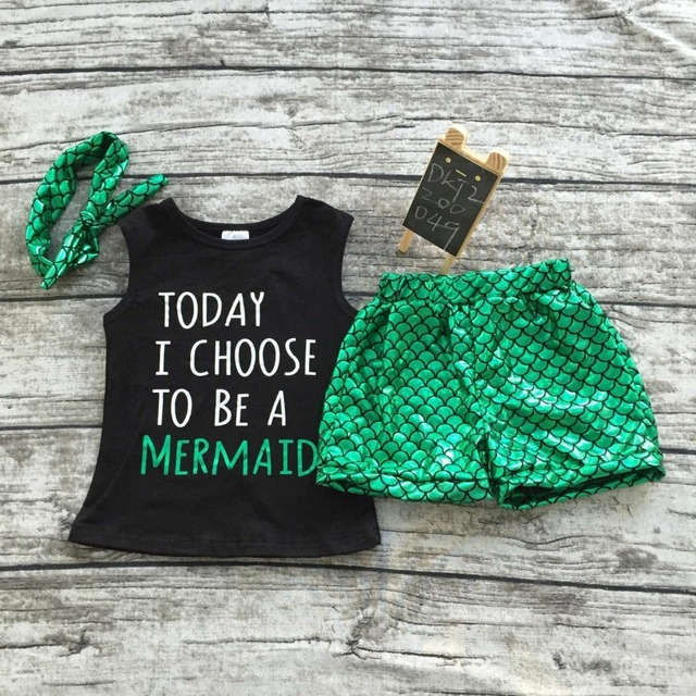 2016 baby girls summer clothing black green mermaid boutique short sets new arrival kids clothes  clothing with headband set